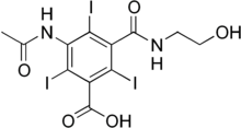 Skeletal formula of ioxitalamic acid