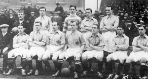 Val Harris - Val Harris (first player on left of back-row) with Ireland team v Wales during 1914 British Home Championship.
