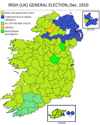 Partition of Ireland - Result in Ireland of the United Kingdom general election, December 1910 showing a large majority for the Irish Parliamentary Party
