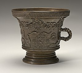 Mortar with Animals, Festoons, Shields of Arms, and Rope-shaped Handle