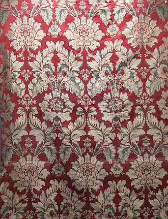 Lampas - Image: Italian silk furnishing fabric, late 17th early 18th century, lampas weave