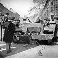 József körút, jobbra a József utca sarka. Kiégett szovjet BTR-152 páncélozott lövészszállító jármű. Fortepan 7086.jpg