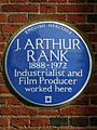 J. ARTHUR RANK 1888-1972 Industrialist and Film Producer worked here - blue plaque.JPG
