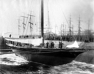 Thistle (yacht) - Thistle in drydock, as photographed by John S. Johnston.