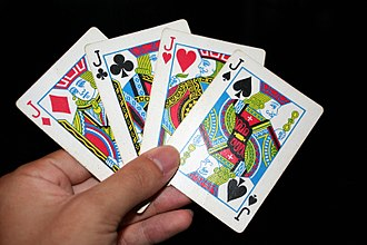 Jack (playing card) - Jack cards of all four suits in the English pattern