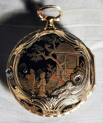 Japanning - A japanned pocket watch from the 18th century