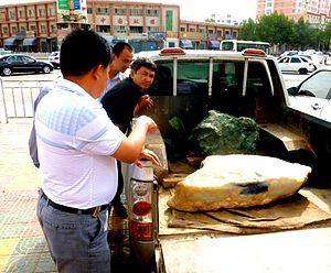Chinese jade - Jade rocks in truck in Khotan in 2011