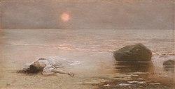 Jakub Schikaneder, Utonulá (1893), pastel na kartonu 455 x 880 mm, sbírka kresby Národní galerie v Praze.jpg