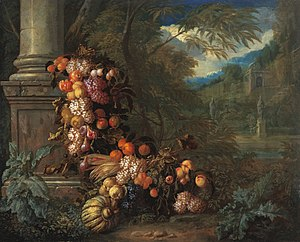 Pieter Rijsbraeck - Still life with Fruit in a Landscape, collaboration with Jan Pauwel Gillemans the Younger