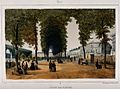 Jardin des Plantes, Paris; figures strolling the grounds alo Wellcome V0014326.jpg