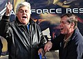 Jay Leno and Verne Rupright at ribbon cutting of military recruiting station, Wasilla, Alaska.jpg