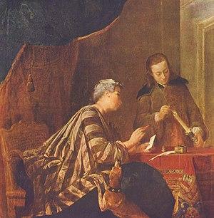 1732 in art - Jean-Baptiste-Siméon Chardin, Lady Sealing a Letter, 1732