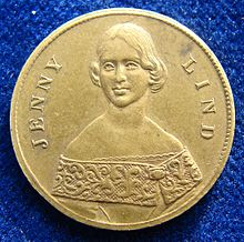 Jenny Lind Token ND issued c. 1850 for her US tour, obverse Jenny Lind Token ND about 1850 USA, obverse.jpg