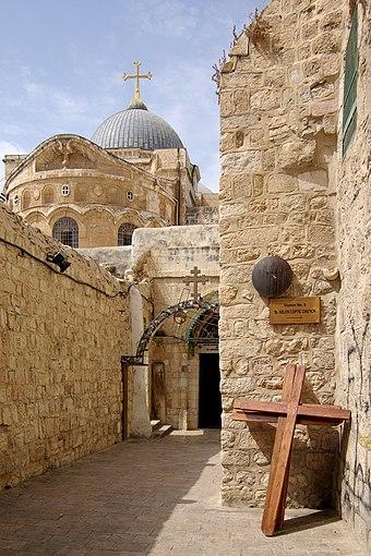 Deváté zastavení křížové cesty na Via Dolorosa v jeruzalémském Starém městě