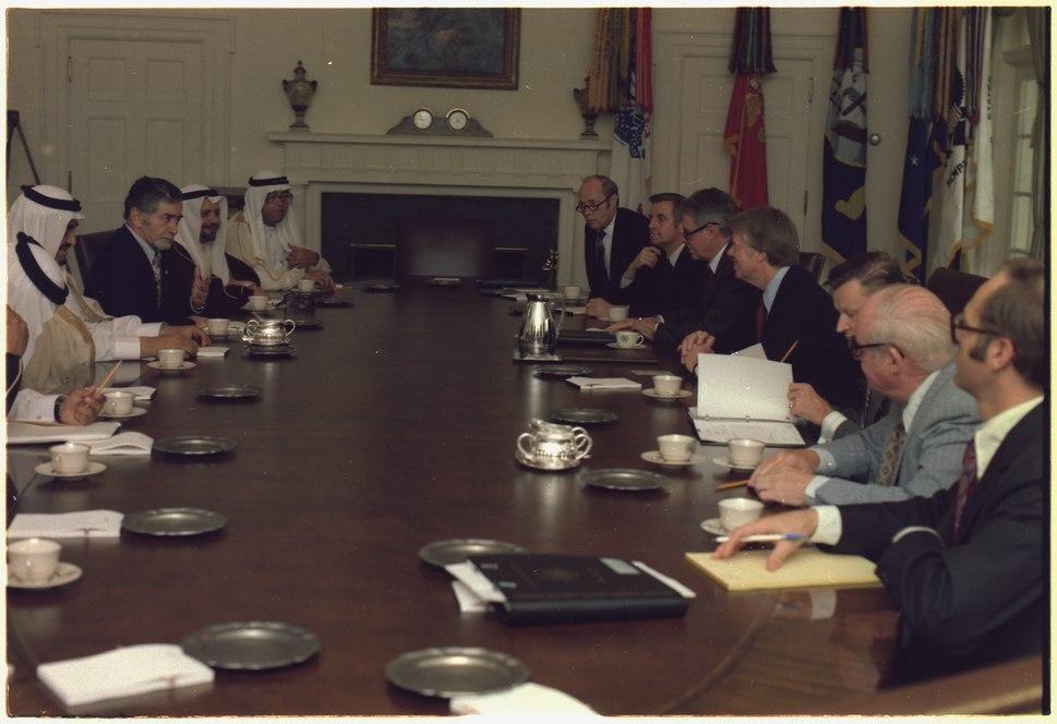 Jimmy Carter and Prince Fahd at a meeting between U.S. and Saudi Arabian officials. - NARA - 174853
