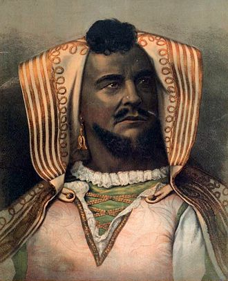 Blackface - American actor John McCullough as Othello, 1878