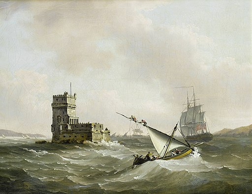 John Thomas Serres - An English frigate in choppy waters in the Tagus passing the Belem Tower