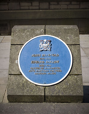 John Bradford - The blue plaque outside Manchester Cathedral