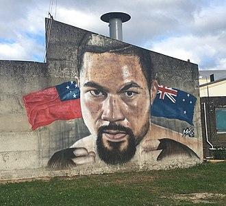 Joseph Parker (boxer) - Parker vs. Joshua mural in Te Puke, New Zealand