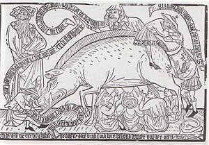 Judensau - Woodcut from Kupferstichkabinet, Munich, ca. 1470, showing a Judensau. The Jews (identified by the Judenhut) are suckling from a pig and eating its excrement. The banderoles display rhymes mocking the Jews.