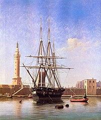 Danish Frigate in the Port of Naples
