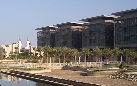 King Abdullah University of Science and Technology KAUST laboratory buildings and town mosque.jpg