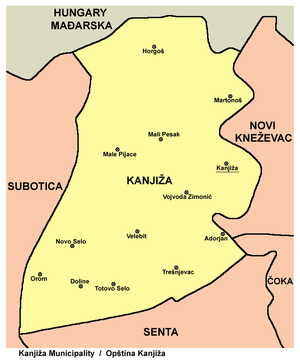 kanjiza mapa Opština Kanjiža   Wikipedia kanjiza mapa