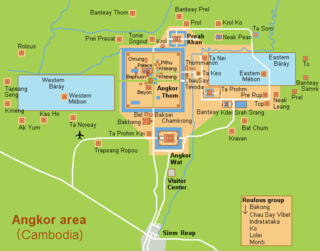 Angkor Former capital city; region of Cambodia