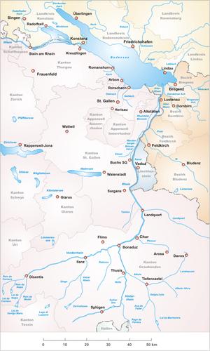 Vorderrhein - Image: Karte Alpenrhein