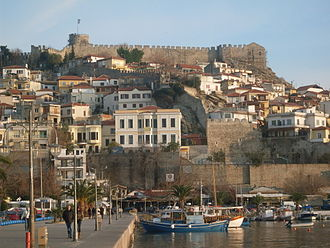 Kavala - View to the old town with the Byzantine fortress.