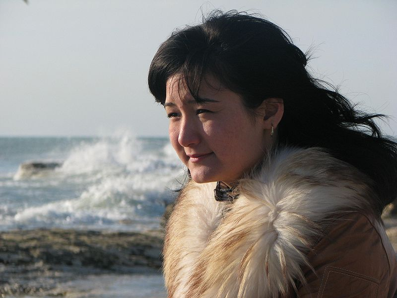 Kazakh woman at the Caspian Sea