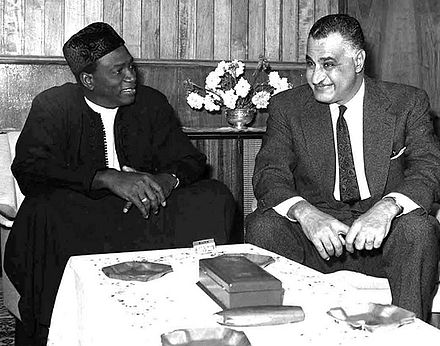 Keita and Egyptian President Gamal Abdel Nasser (right) in Addis Ababa for the Organisation of African Unity conference, November 1966 Keita and Nasser, 1966.jpg
