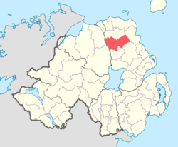 Location of Kilconway, County Antrim, Northern Ireland.