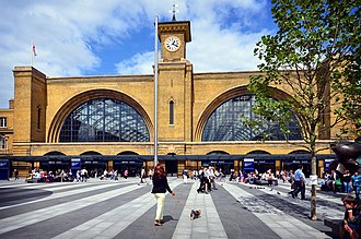 London King's Cross railway station - King's Cross station frontage following restoration, in 2014