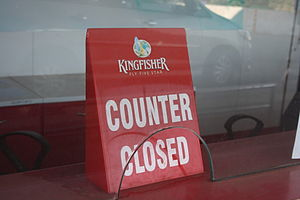 Kingfisher Airlines - A closed counter after Kingfisher Airlines stopped its service