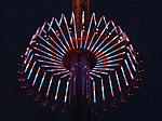 WindSeeker lit up at night, partway up the tower. Taken June 30, 2011.