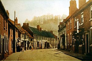 Kinver - Kinver High Street, and St Peter's on Church Hill behind. Circa 1910.