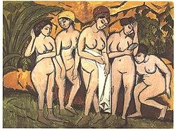 Ernst Ludwig Kirchner: Five Bathing Women at a Lake