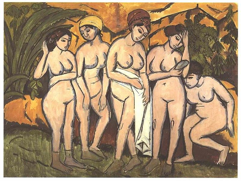 File:Kirchner - Fünf badende am See.jpg