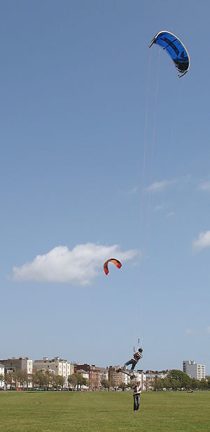 Kite landboarding - A kite landboarder in action.