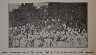 """Alma Bridwell White - Klan gathering on August 31, 1929 in front of Assembly Hall, Zarephath, New Jersey for """"Patriotic Day"""" during the Pillar of Fire Church's annual Camp Meeting."""