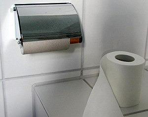 Toilet paper - Toilet paper and toilet paper holder.