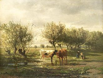 Hague School - Cows at a Pond by Gerard Bilders