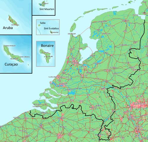 Größenvergleichskarte des Königreichs der Nierderlande