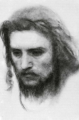 Kramskoi Crist in the Wilderness sketch 1872