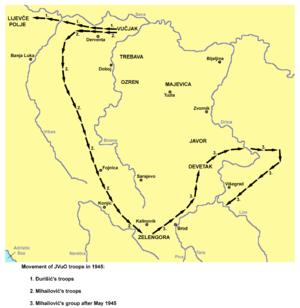 Battle of Lijevče Field - Image: Kretanje snaga jvuo 1945 (en)