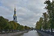 Krjukov Canal and Nicholas Naval Cathedral belfry Saint Petersburg.jpg