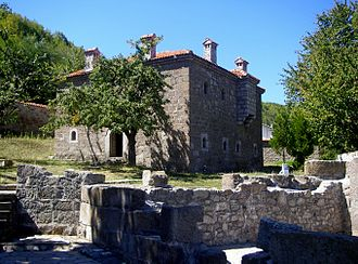 """Isa Boletini - View of the """"Isa Boletini Complex"""", and ruins of the original family house."""