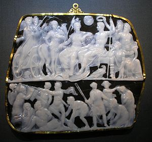 Onyx - The Gemma Augustea is a Roman cameo produced 9–12 AD and carved in a two-layered onyx gem (19 × 23 cm)