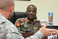 Kuwaiti Col. Abdul Salem, right, the commandant of the Kuwait Ministry of Defense Noncommissioned Officer (NCO) and Recruits Training Institute, meets with U.S. Army Command Sgt. Maj. Ronnie R. Kelley 140827-A-DO086-962.jpg
